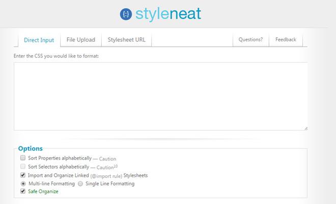styleneat reformat styles css