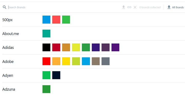 brandcolors color palettes