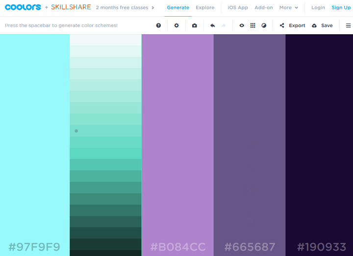 coolors color palette generator